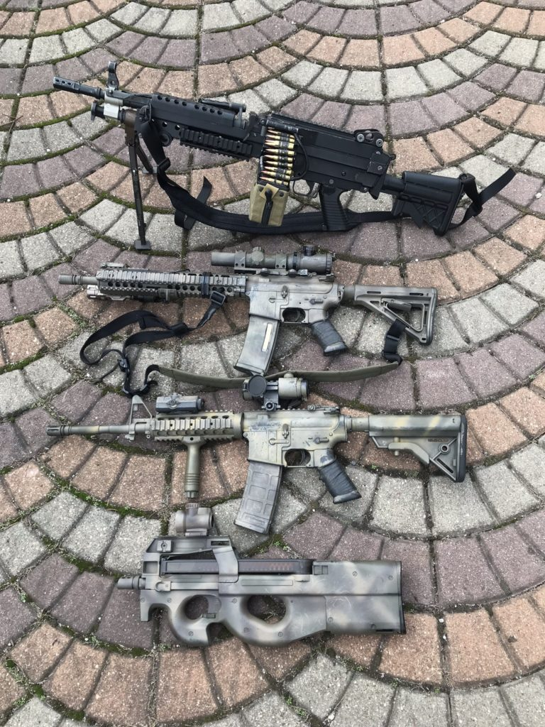 My four sets of airsoft replicas