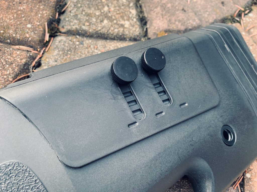 cheek pad adjustment on the buttstock of the SA-S03 sniper rifle